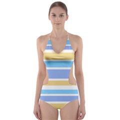 Blue Yellow Stripes Cut-Out One Piece Swimsuit