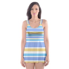 Blue Yellow Stripes Skater Dress Swimsuit