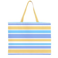 Blue Yellow Stripes Large Tote Bag