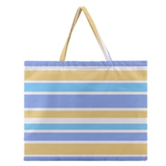 Blue Yellow Stripes Zipper Large Tote Bag