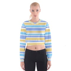 Blue Yellow Stripes Women s Cropped Sweatshirt