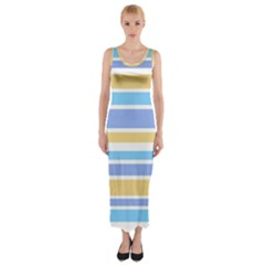 Blue Yellow Stripes Fitted Maxi Dress