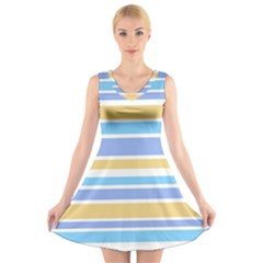 Blue Yellow Stripes V-Neck Sleeveless Skater Dress