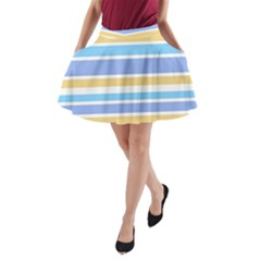 Blue Yellow Stripes A Line Pocket Skirt