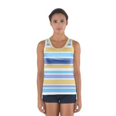 Blue Yellow Stripes Tops