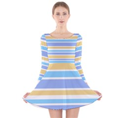 Blue Yellow Stripes Long Sleeve Velvet Skater Dress