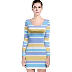Blue Yellow Stripes Long Sleeve Velvet Bodycon Dress