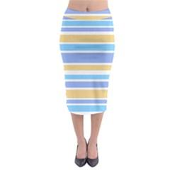 Blue Yellow Stripes Midi Pencil Skirt
