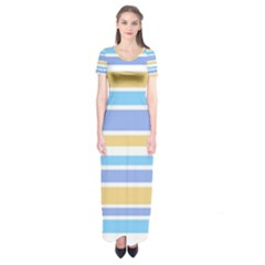 Blue Yellow Stripes Short Sleeve Maxi Dress
