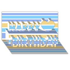 Blue Yellow Stripes Happy Birthday 3D Greeting Card (8x4)