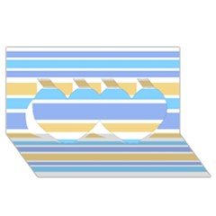 Blue Yellow Stripes Twin Hearts 3D Greeting Card (8x4)