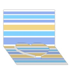 Blue Yellow Stripes Heart Bottom 3d Greeting Card (7x5)