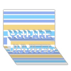 Blue Yellow Stripes YOU ARE INVITED 3D Greeting Card (7x5)