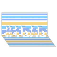 Blue Yellow Stripes #1 DAD 3D Greeting Card (8x4)