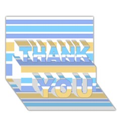 Blue Yellow Stripes THANK YOU 3D Greeting Card (7x5)