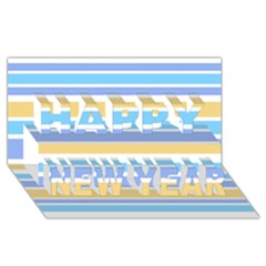 Blue Yellow Stripes Happy New Year 3D Greeting Card (8x4)