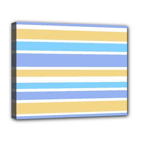 Blue Yellow Stripes Deluxe Canvas 20  x 16