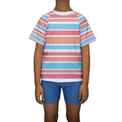 Orange Blue Stripes Kid s Short Sleeve Swimwear