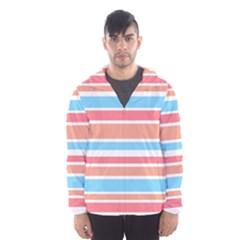 Orange Blue Stripes Hooded Wind Breaker (men)