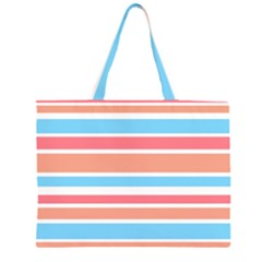 Orange Blue Stripes Large Tote Bag