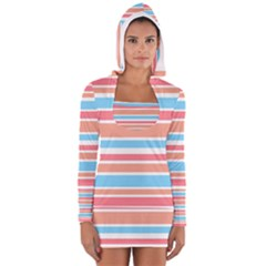 Orange Blue Stripes Women s Long Sleeve Hooded T-shirt