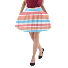 Orange Blue Stripes A-Line Pocket Skirt