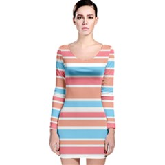 Orange Blue Stripes Long Sleeve Velvet Bodycon Dress