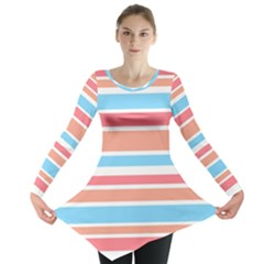 Orange Blue Stripes Long Sleeve Tunic