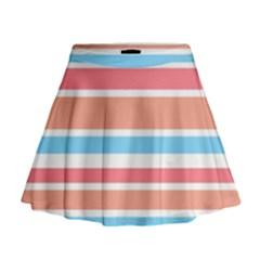 Orange Blue Stripes Mini Flare Skirt