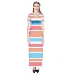 Orange Blue Stripes Short Sleeve Maxi Dress