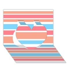Orange Blue Stripes Heart 3D Greeting Card (7x5)