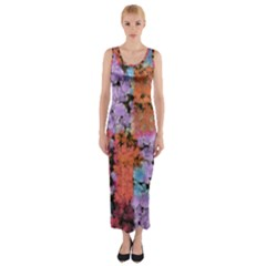 Paint texture                                     Fitted Maxi Dress