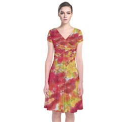 Colorful Splatters     Short Sleeve Front Wrap Dress