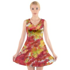 Colorful Splatters                                  V-Neck Sleeveless Dress