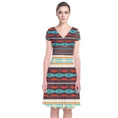 Stripes and rhombus chains     Short Sleeve Front Wrap Dress