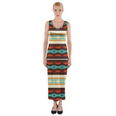 Stripes and rhombus chains                                      Fitted Maxi Dress