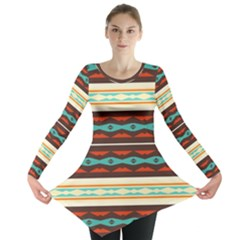 Stripes And Rhombus Chains                                      Long Sleeve Tunic