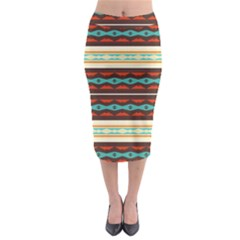 Stripes And Rhombus Chains                                        Midi Pencil Skirt