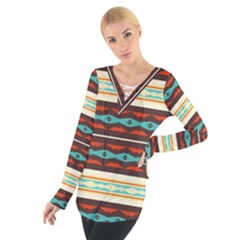 Stripes and rhombus chains                                       Women s Tie Up Tee