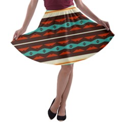 Stripes and rhombus chains                                      A-line Skater Skirt