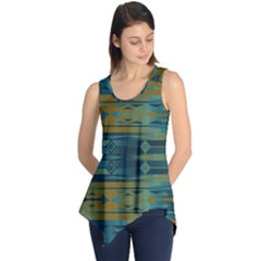 Blue Green Gradient Shapes                                       Sleeveless Tunic