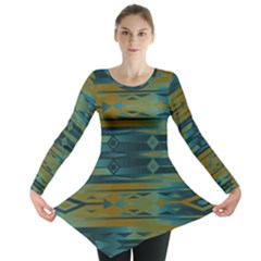 Blue Green Gradient Shapes                                       Long Sleeve Tunic