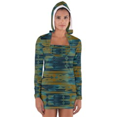 Blue green gradient shapes                                       Women s Long Sleeve Hooded T-shirt