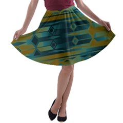 Blue Green Gradient Shapes                                       A Line Skater Skirt