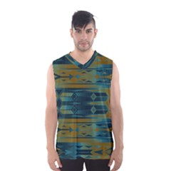 Blue Green Gradient Shapes                                       Men s Basketball Tank Top