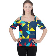 Colorful shapes on a blue background                                        Women s Cutout Shoulder Tee