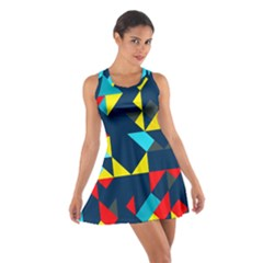 Colorful shapes on a blue background                                        Cotton Racerback Dress