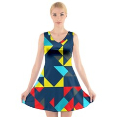 Colorful shapes on a blue background                                    V-Neck Sleeveless Dress