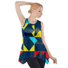 Colorful shapes on a blue background                                        Side Drop Tank Tunic