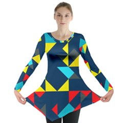 Colorful shapes on a blue background                                        Long Sleeve Tunic